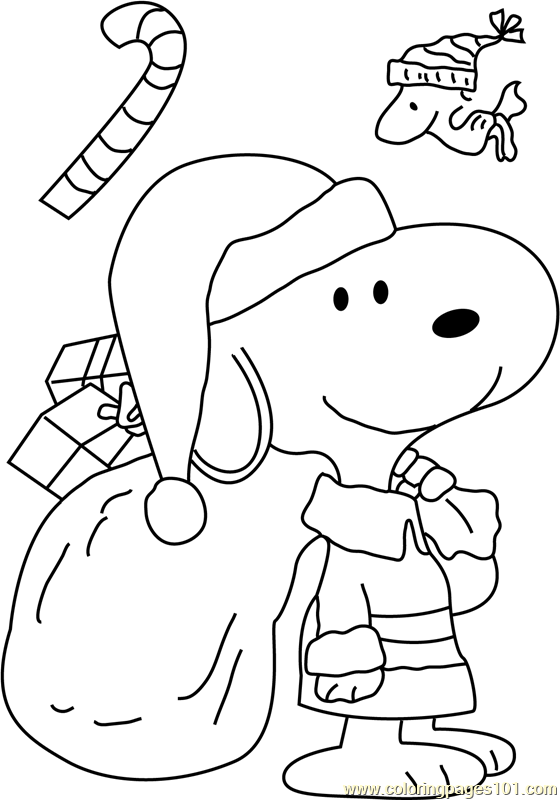 Snoopy Dressed As Santa Coloring Page - Free Christmas ...