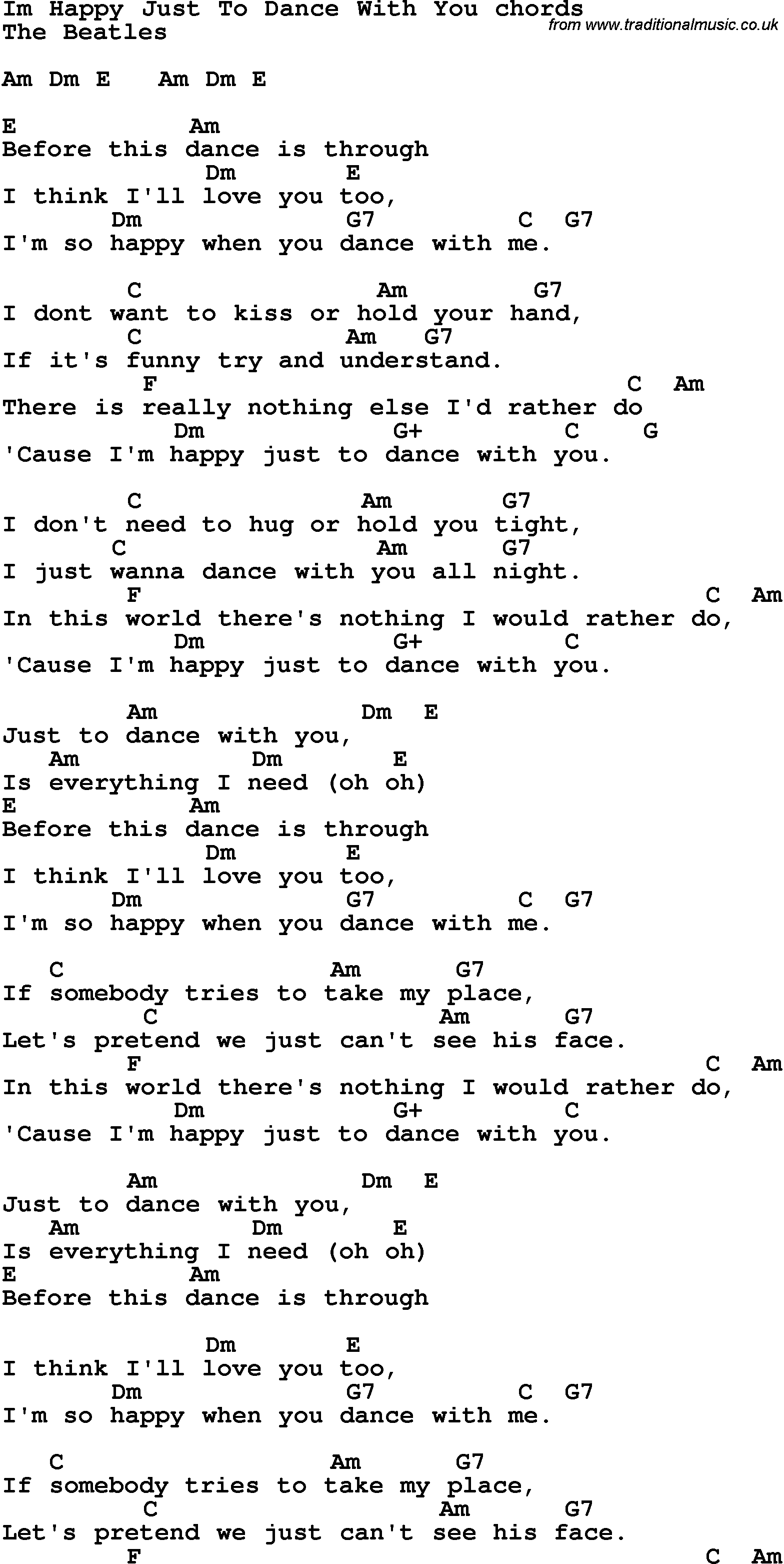 I Wanna Hold Your Hand Guitar Chords   Sheet and Chords Collection