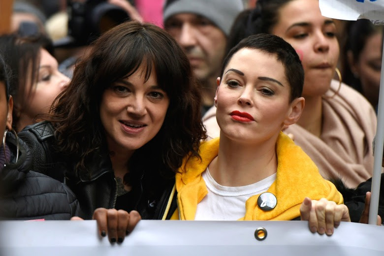 """Asia Argento (S) and Rose McGowan during the event organized in Rome by the feminist collective """"Not one less""""International Women's Day, Rome, Italy - 08 Mar 2018"""