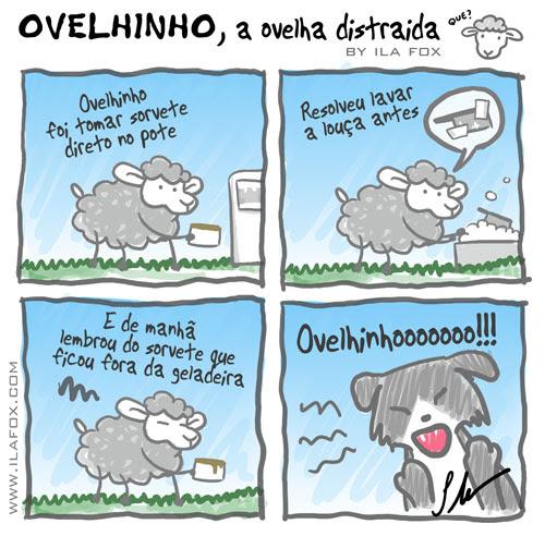 Ovelhinho, carneiro Ovelha, ovelhinho foi tomar sorvete direto do pote, quadrinhos, by ila fox