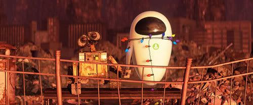 WALL-E holds hands with a deactivated Eve.