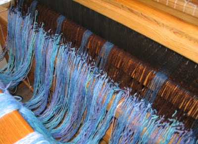 The new warp is tied on & ready to beam.