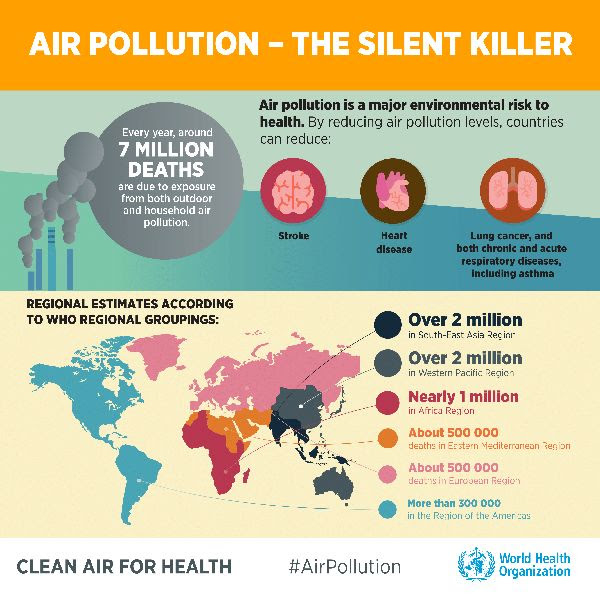 Around 7 million people die every year from exposure to fine particles in polluted air that penetrate deep into the lungs and cardiovascular system, causing diseases including stroke, heart disease, lung cancer, chronic obstructive pulmonary diseases and respiratory infections, including pneumonia