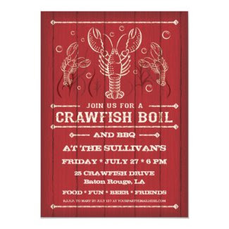 "Crawfish Boil Party Invitation 5"" X 7"" Invitation Card"
