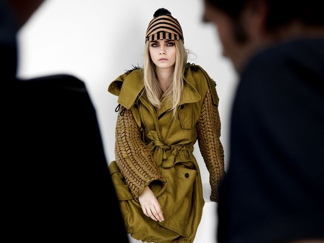 Cara Delevingne behind the scnenes at the Burberry Spring Summer 2012 ad campaign
