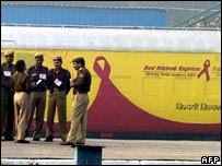 People standing in front of Red Ribbon Express