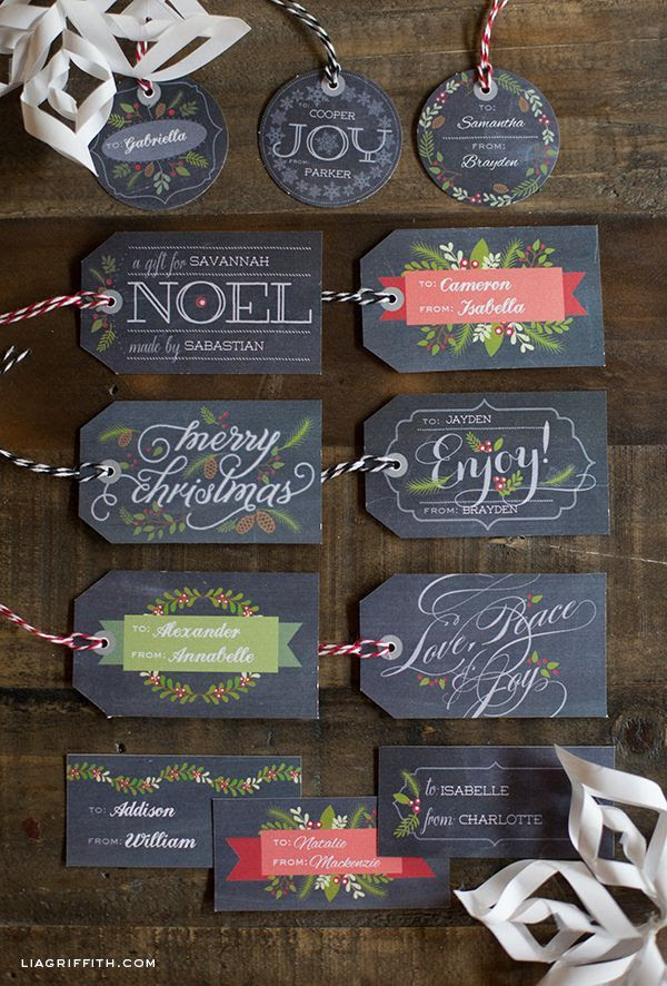 Free Printable chalkboard Christmas Labels and Tags with matching food gift labels.