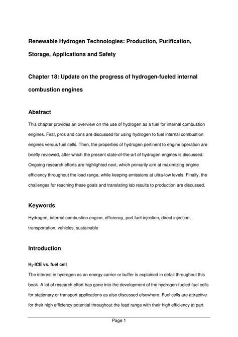 (PDF) Update on the Progress of Hydrogen-Fueled Internal