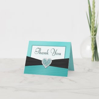 Tiffany Blue and Black Glitter Heart Thank You card