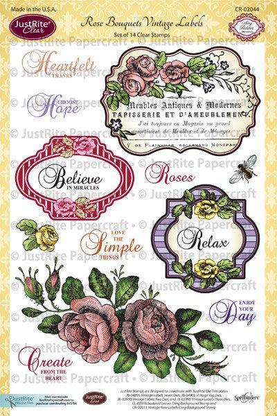 Rose Bouquet Vintage Labels Seven Clear Stamps