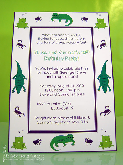 La Rue Louise Blake Connors Reptile Birthday Party Invitations