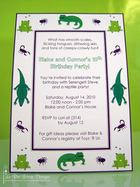 La Rue Louise Blake Connors Reptile Birthday Party Invitations