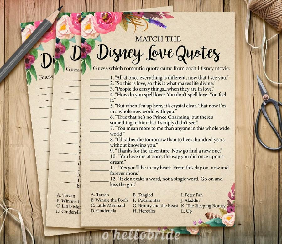 Disney Love Quotes Match Game Printable Boho Bohemian Bridal
