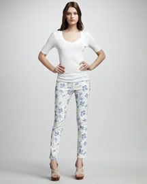 Paige Premium Denim Skyline Sophie Alice Floral Print Jeans