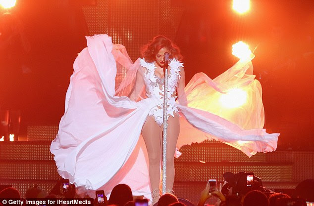 Dramatic: The skirt part of J-Lo's dress flew dramatically thanks to a wind machine