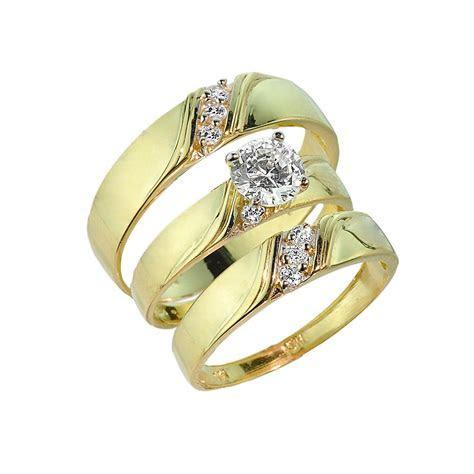 3 Piece Gold CZ Wedding Ring Set   Engagement Ring