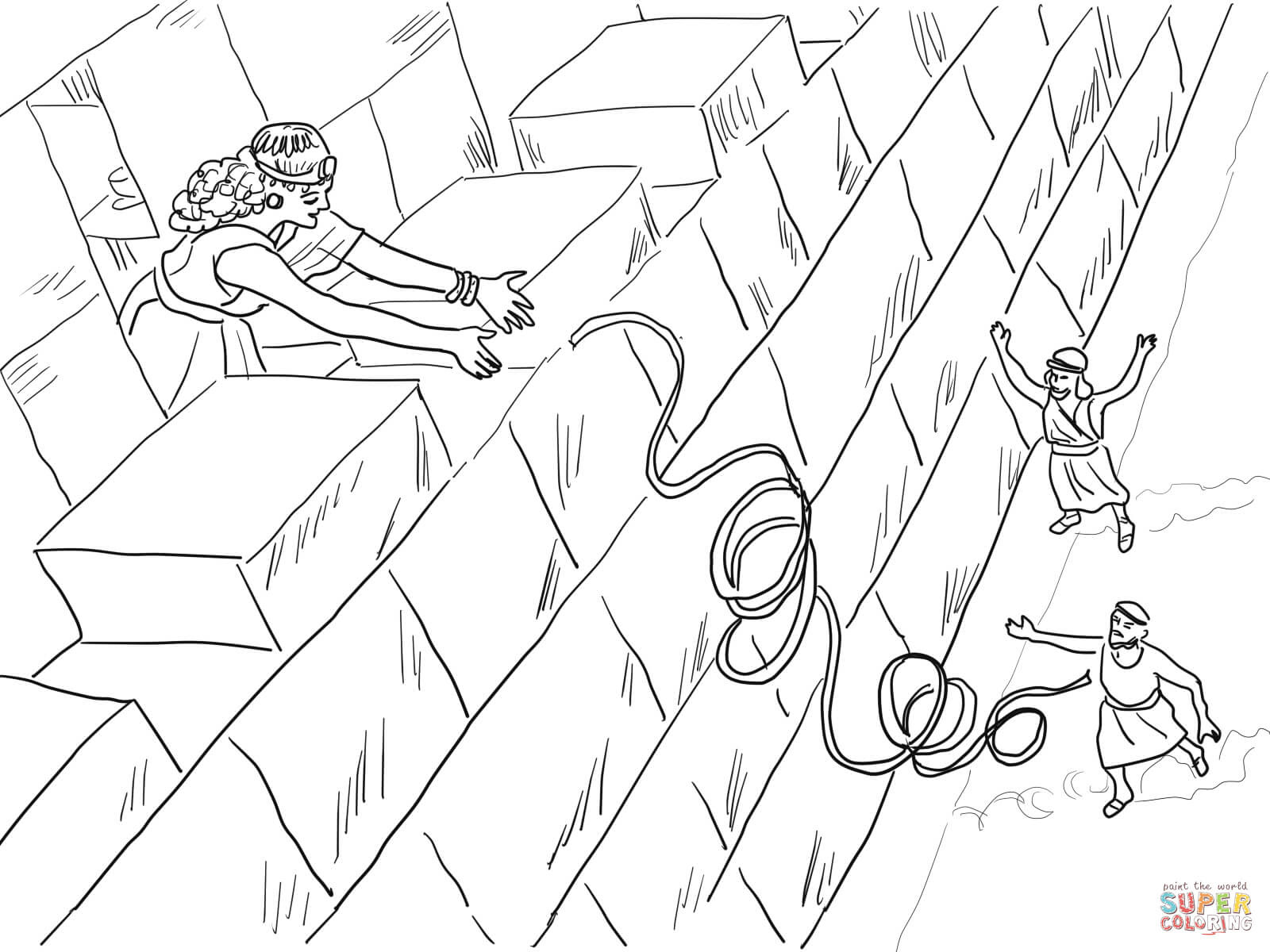 1 rahab helps the spies coloring page