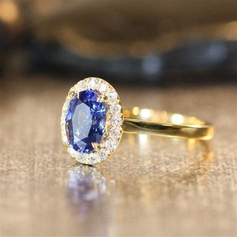Natural Blue Sapphire Engagement Ring Halo Diamond Ring