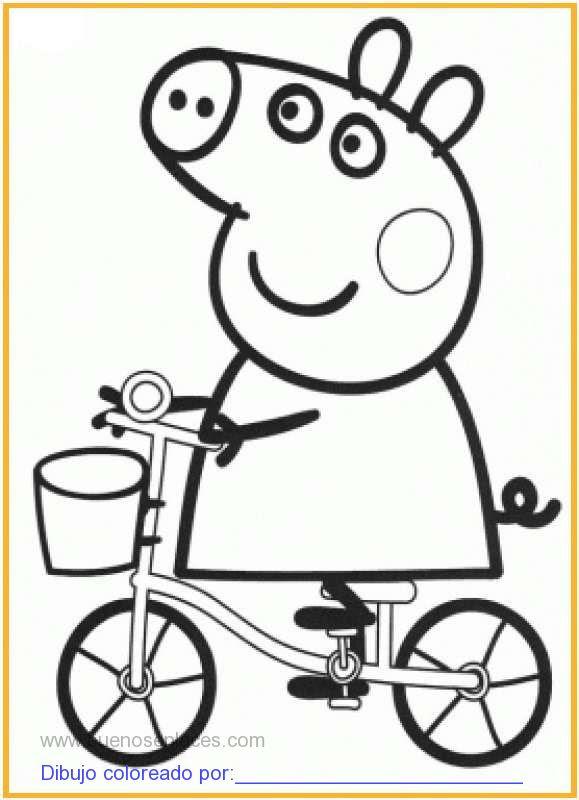 Dibujo De Peppa Pig En Bicicleta Para Colorear E Imprimir