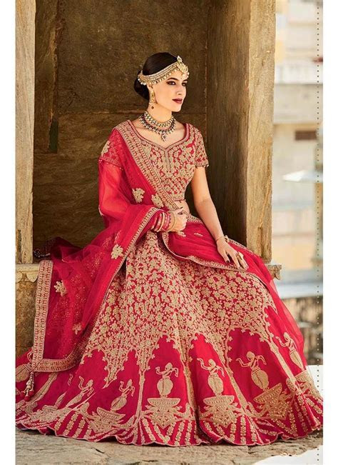 New Branded Modern Designer Party Wear Red Colored Lehenga