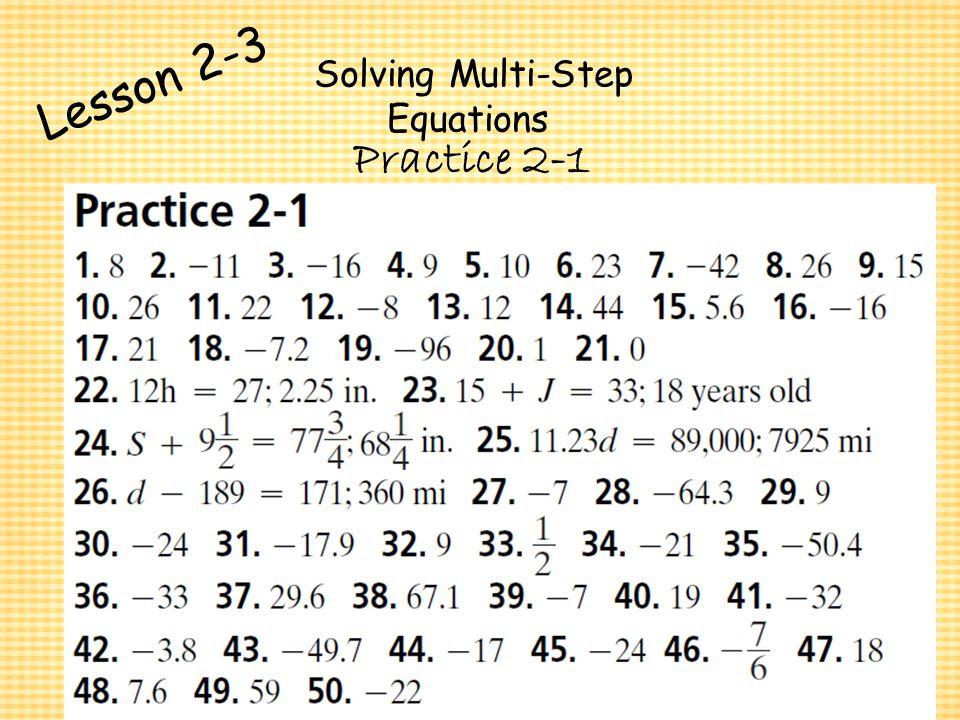 Solving Multi Step Equations Beginner Algebra Lesson Plan For Ninth