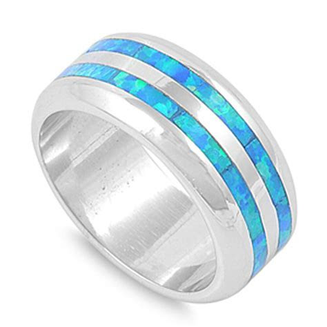 Men's Wedding Band Blue Lab Opal Fashion Ring New 925