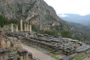 Русский: Развалины храма Аполлона в г.Дельфы, ...
