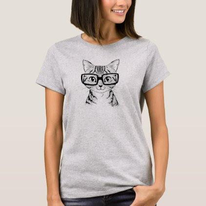 Unique Hand Drawn Nerdy Cat Art Women's T-shirt