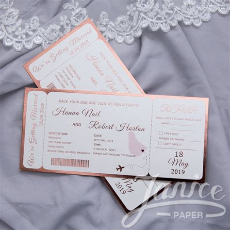 Foil Destination Wedding Airline Ticket Style Invitations