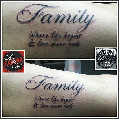 Familia Family Biceps Caligrafia Tattooarteypiel Tatuajes