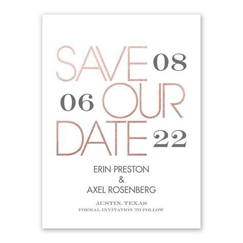 Mixed Message Foil Save the Date Card   Invitations By Dawn
