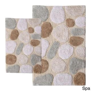 Rockway Collection Cotton Non-Skid Stone Design 2-piece Bath Rug ...