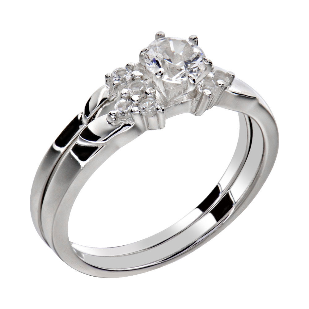 Women s Round Cut AAA CZ Stainless Steel Wedding Ring Set