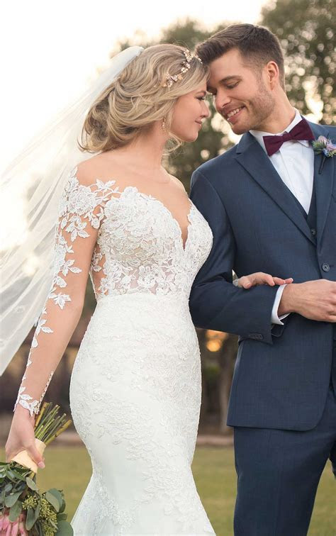 Wedding Dress with Lace Sleeves and V Neck   Essense of