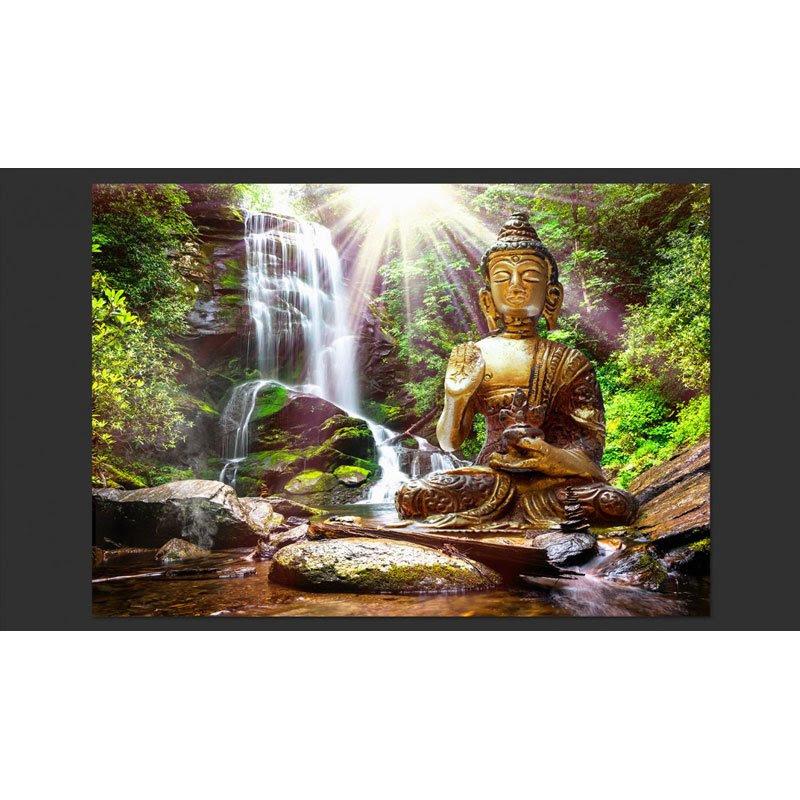 Fotomural Paisaje Zen Cascada Con Buda A Sft