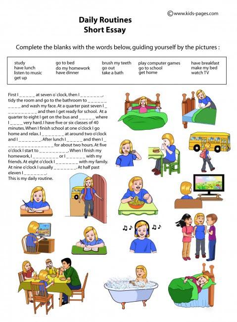 Daily Activities Worksheet Pdf