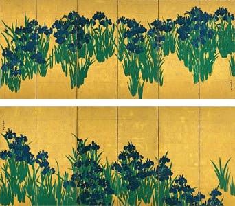 国宝燕子花図屏風undefined尾形光琳筆undefined六曲一双江戸時代undefined18世紀根津美術館蔵