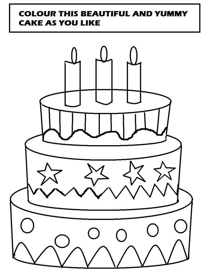Birthday Cake Coloring Drawing And Painting For Kids Learn