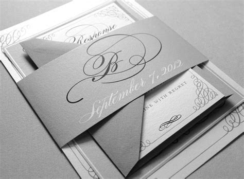 Black and White Wedding Invitations   Black and Gray