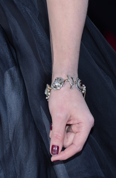 Actress Helena Bonham Carter (jewelry detail) arrives at the Oscars at Hollywood & Highland Center on February 24, 2013 in Hollywood, California.