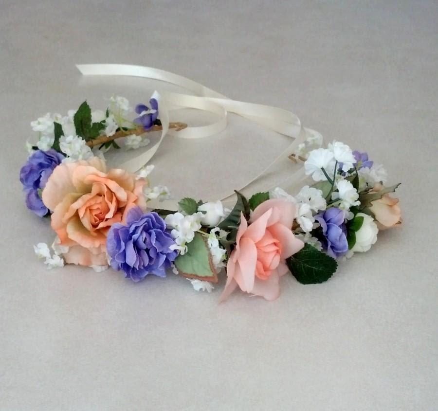 Bridal Headpiece Rosie Flower Crown, Purple Peach Lavender Artificial Rose Headband Hair