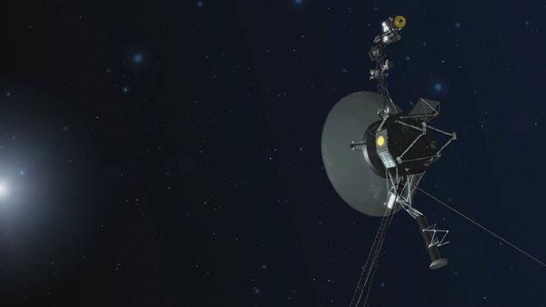 An artist's concept of a Voyager spacecraft venturing through the cosmos.