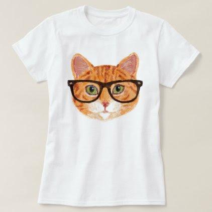 Hipster Cat (Orange / Ginger Tabby) T-Shirt