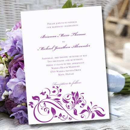 """Purple Wedding Invitation Template """"Flourish""""   Printable Word.doc ..."""
