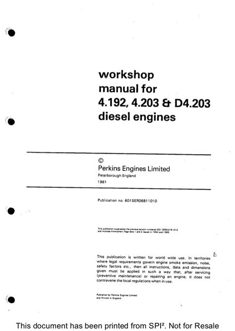 PERKINS 4.203 DIESEL ENGINE Service Repair Manual