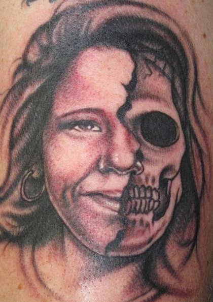 Half Skull Portrait Tattoo