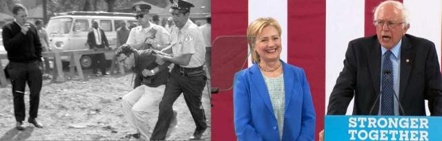Bernie Sanders as a brave youthful activist and today, endorsing Hillary Clinton, a woman he had condemned as a corporate shill