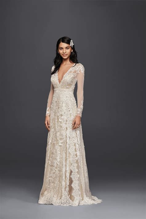 Long A Line Lace Wedding Dress with Sleeves by Melissa