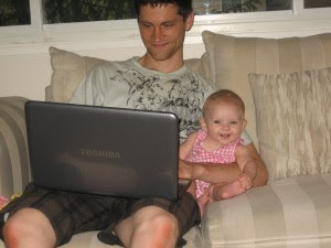 Daddy's turn to take care of her. This is how it happens (sometimes, I thought it was adorable!)