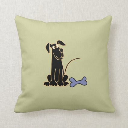 AJ- Cute Black Puppy Dog Pillow